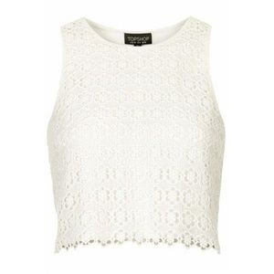 Topshop White Floral Lace Cropped Tank